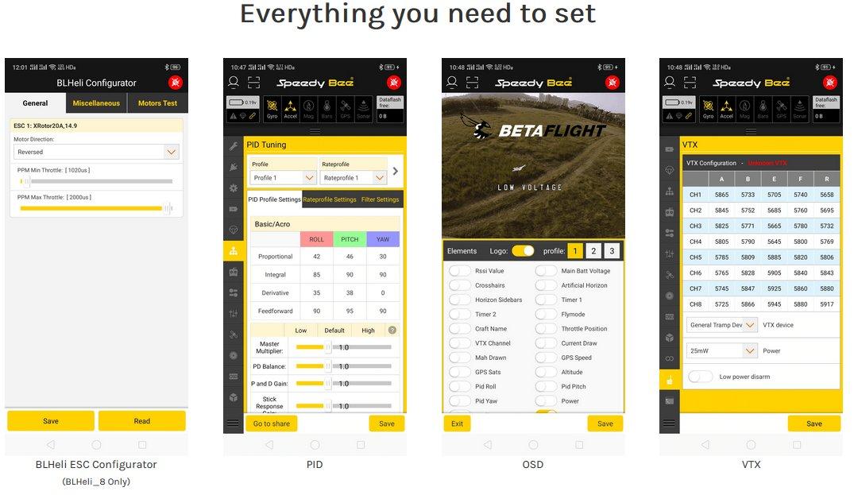 Screenhots from the Speedy Bee website